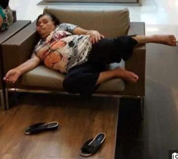 Woman falls asleep at the shopping mall